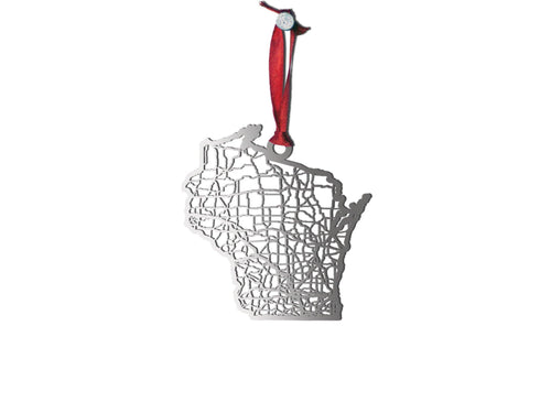 Wisconsin Ornament - Cool Cut Map Gift