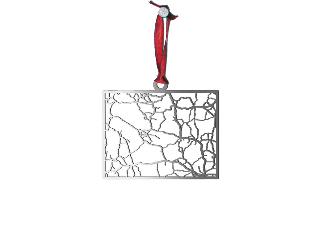 Wyoming Ornament - Cool Cut Map Gift