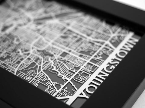 "Youngstown - Stainless Steel Map - 5""x7"" - Cool Cut Map Gift"