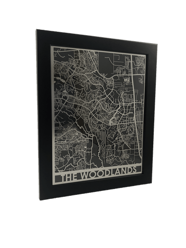 The Woodlands, TX - Stainless Steel Map - 11
