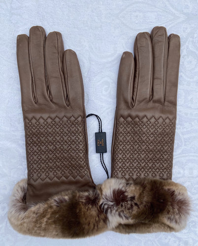 Real Leather Brown Gloves with Cashmere Lining and Rabbit Cuffs