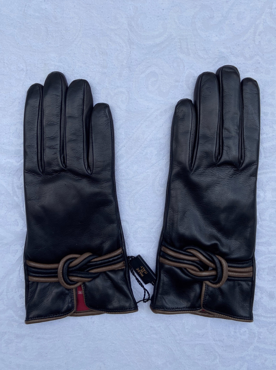 Real Leather Black Gloves with Cashmere Lining