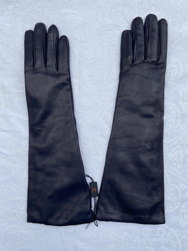 Real Leather Dark Blue Long Gloves with Cashmere Lining