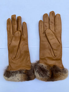 Real Leather Camel Gloves with Cashmere Lining and Rabbit Cuffs