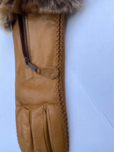 Load image into Gallery viewer, Real Leather Camel Gloves with Cashmere Lining and Rabbit Cuffs