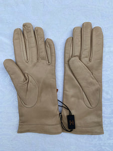 Real Leather Beige Gloves with Cashmere Lining