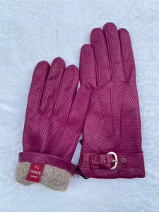 Real Leather Raspberry Gloves with Cashmere Lining