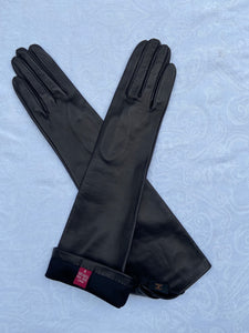 Real Leather Black Long Gloves with Silk Lining