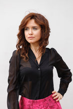 Load image into Gallery viewer, OLIVIA SILK GEORGETTE BLOUSE IN BLACK