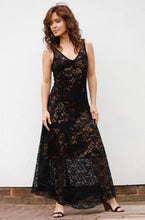 Load image into Gallery viewer, EVITA MAXI DRESS IN LACE-LEOPARD