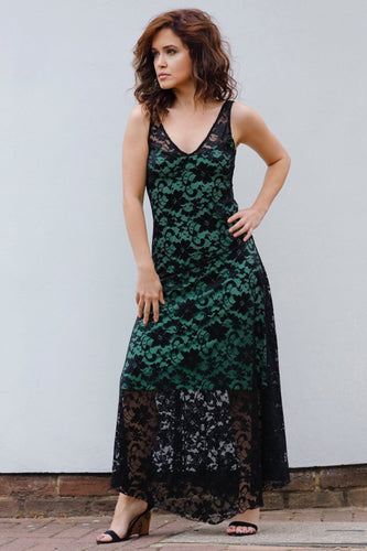 EVITA MAXI LACE DRESS-GREEN