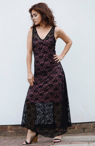 EVITA MAXI DRESS IN LACE-PINK