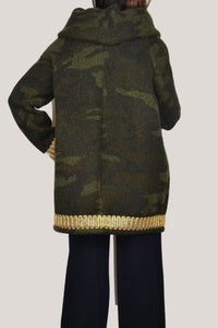 SARA COAT IN BOILED WOOL CAMOUFLAGE