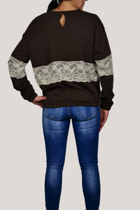 SWEATSHIRT IN BROWN WITH LACE