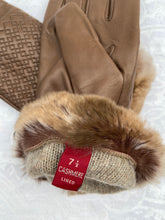 Load image into Gallery viewer, Real Leather Brown Gloves with Cashmere Lining and Rabbit Cuffs