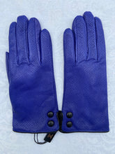 Load image into Gallery viewer, Real Leather Blue Avion Gloves with Cashmere Lining