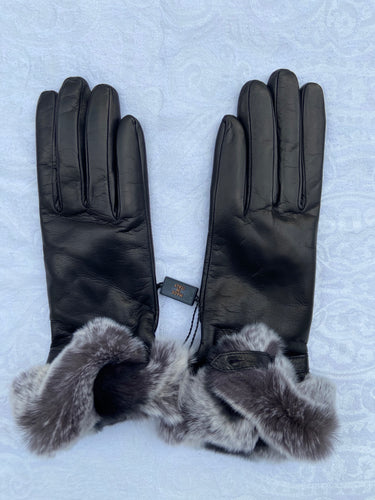 Real Leather Black Gloves with Cashmere Lining and Rabbit Cuffs