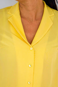 OLIVIA SILK CREPE DE CHINE BLOUSE IN YELLOW