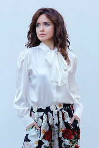 ASIA SILK SATIN BLOUSE IN WHITE