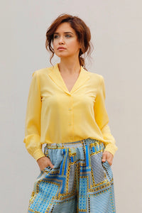 OLIVIA SILK CREPE BLOUSE IN YELLOW
