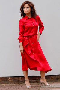 MIDI CHEMISIER DRESS IN SILK -RED
