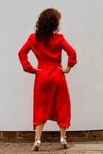 Load image into Gallery viewer, MIDI CHEMISIER DRESS IN SILK -RED
