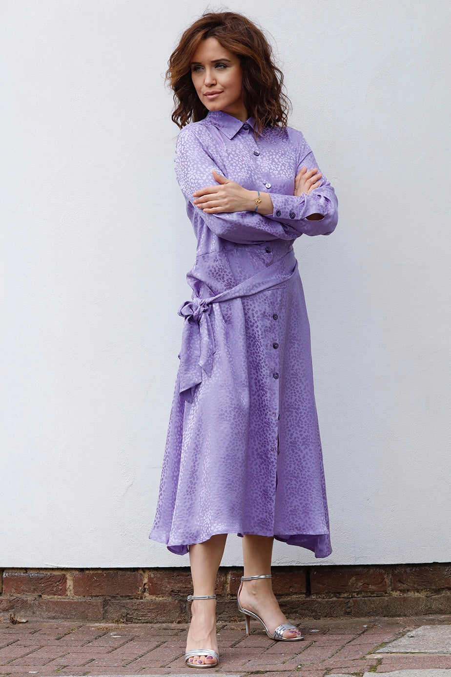 MIDI CHEMISIER DRESS IN SILK -LAVANDER