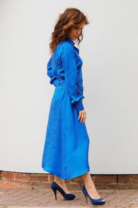 MIDI CHEMISIER DRESS IN SILK -BLUE ROYAL