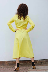 MIDI CHEMISIER DRESS IN COTTON POPLIN-YELLOW