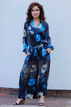 Load image into Gallery viewer, ALINA SILK SATIN WIDE LEG PANTS BLUE