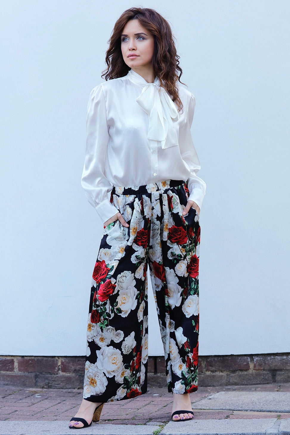 LUCY SILK CREPE WIDE- LEG PANTS