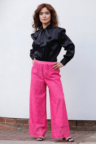 GIORGIA TROUSERS IN FUCHSIA LACE