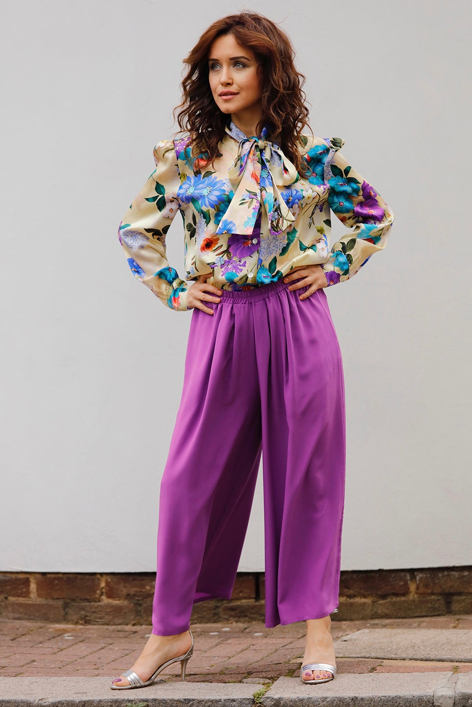 TINA SILK CREPE WIDE-LEG PANTS