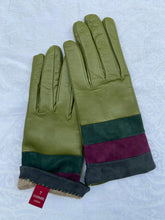 Load image into Gallery viewer, Real Leather Green Gloves with Cashmere Lining