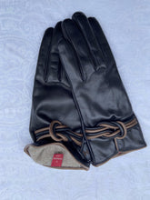Load image into Gallery viewer, Real Leather Black Gloves with Cashmere Lining