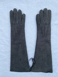 Real Leather Long Grey Gloves in Sueded Lambskins