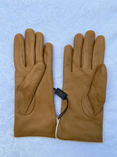 Load image into Gallery viewer, Real Leather Camel Gloves with Cashmere Lining
