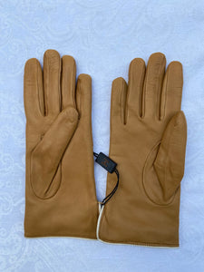 Real Leather Camel Gloves with Cashmere Lining