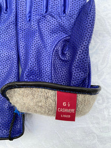 Real Leather Blue Avion Gloves with Cashmere Lining