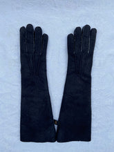 Load image into Gallery viewer, Real Leather Long Black Gloves in Sueded Lambskins