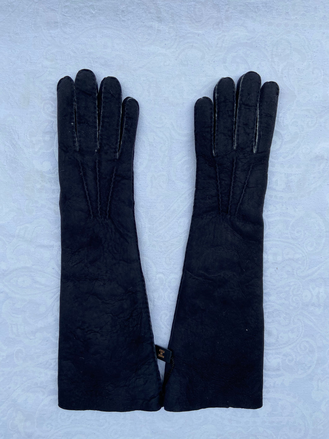 Real Leather Long Black Gloves in Sueded Lambskins