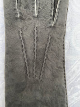 Load image into Gallery viewer, Real Leather Long Grey Gloves in Sueded Lambskins