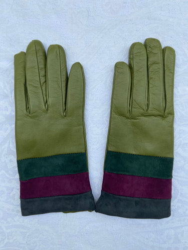 Real Leather Green Gloves with Cashmere Lining
