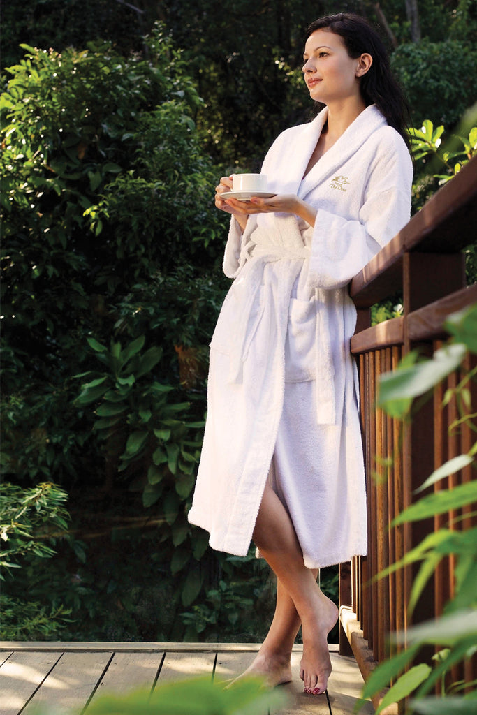 Plush,Terry Velour Shawl Collar Bath Robe