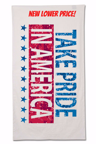 "Made in USA velour beach towel, 34"" x 66"""