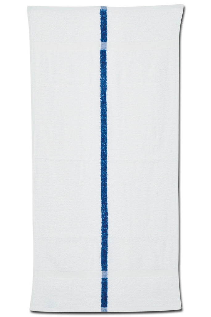 Fade resistant, blue stripe pool towel