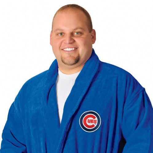 Cubs Royal Blue Bath Robe - Terry Velour Shawl Collar, 13 oz.
