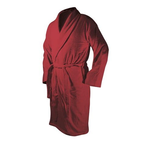 Burgandy Bath Robe - Terry Velour Shawl Collar, 13 oz.