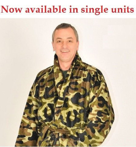 Camo Bath Robe - Terry Velour Shawl Collar, 13 oz.