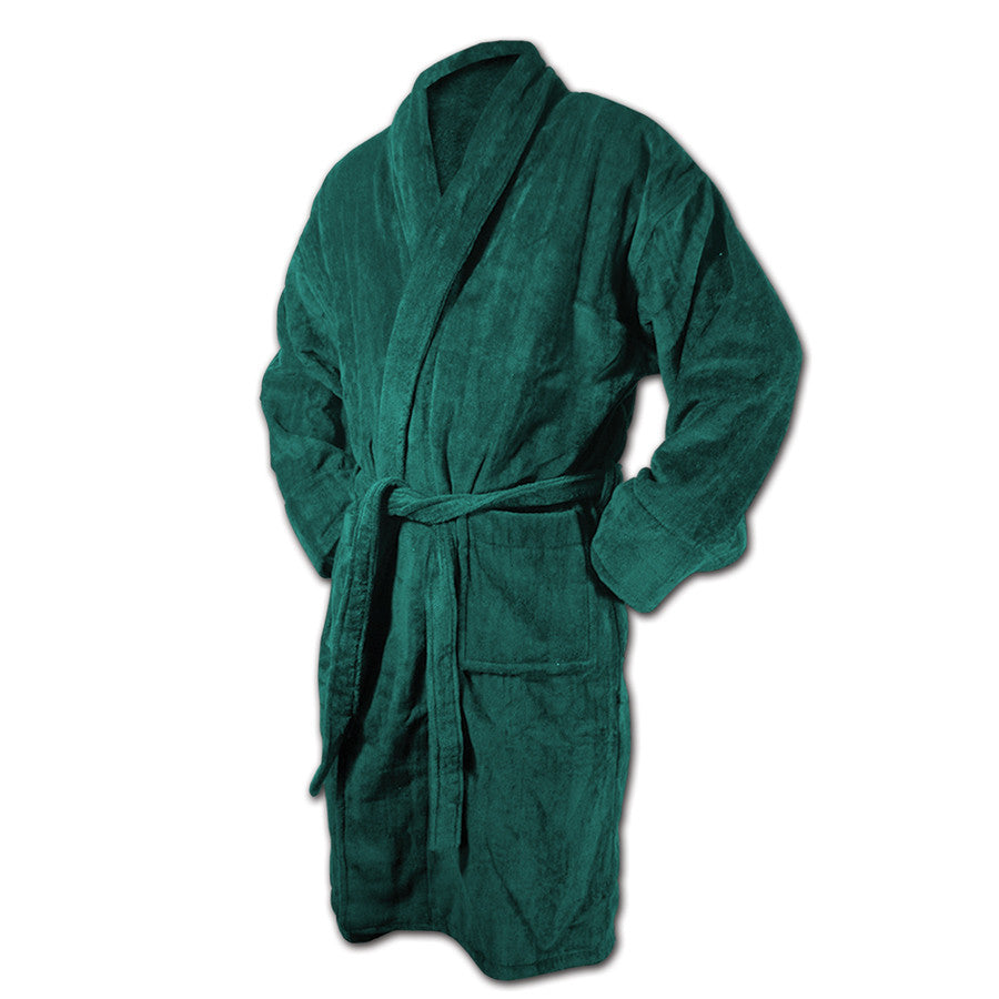 Forest Green Bath Robe - Terry Velour Shawl Collar, 13 oz.